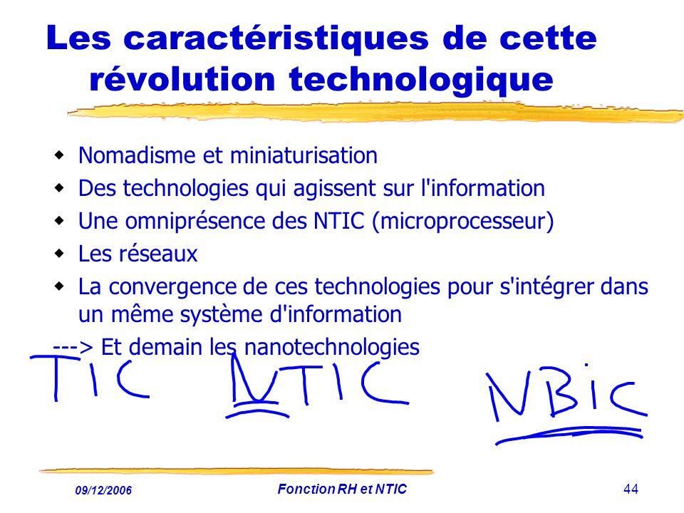 09/12/2006 Fonction RH et NTIC44 Les caractéristiques de cette révolution technologique Nomadisme et miniaturisation Des technologies qui agissent sur