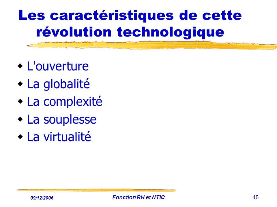 09/12/2006 Fonction RH et NTIC45 Les caractéristiques de cette révolution technologique L'ouverture La globalité La complexité La souplesse La virtual