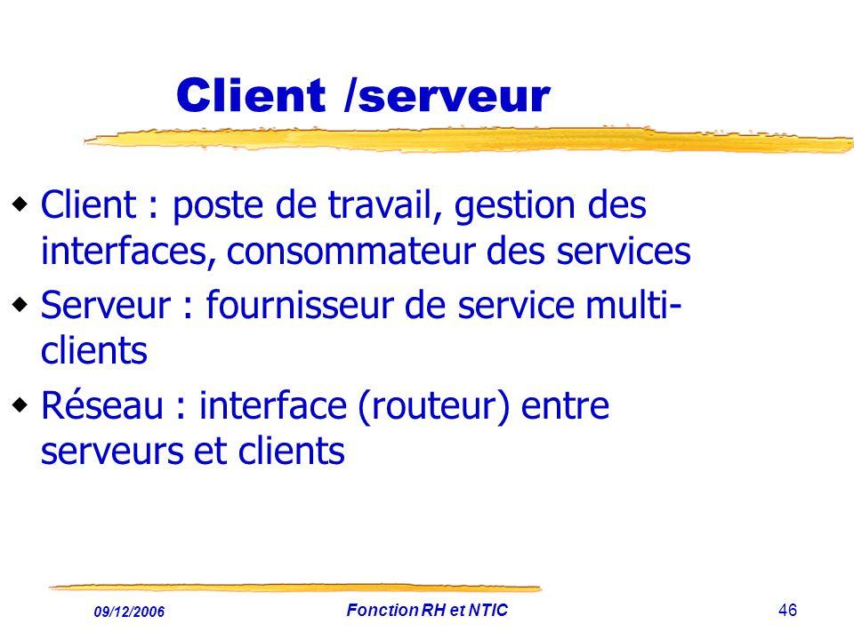 09/12/2006 Fonction RH et NTIC46 Client /serveur Client : poste de travail, gestion des interfaces, consommateur des services Serveur : fournisseur de