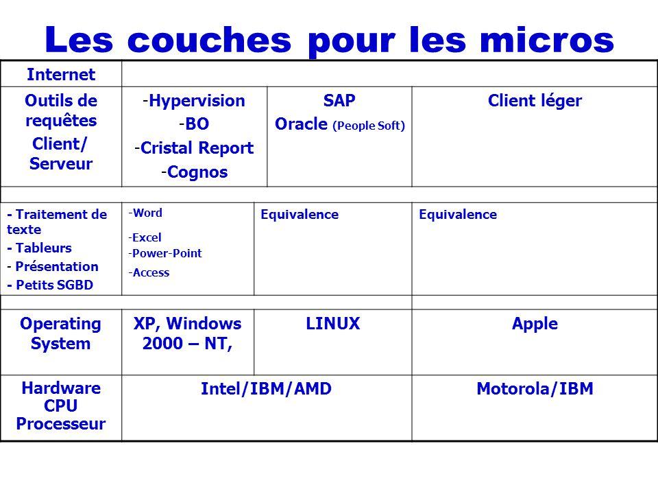 Internet Outils de requêtes Client/ Serveur -Hypervision -BO -Cristal Report -Cognos SAP Oracle (People Soft) Client léger - Traitement de texte - Tab
