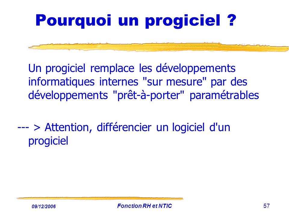 09/12/2006 Fonction RH et NTIC57 Pourquoi un progiciel ? Un progiciel remplace les développements informatiques internes