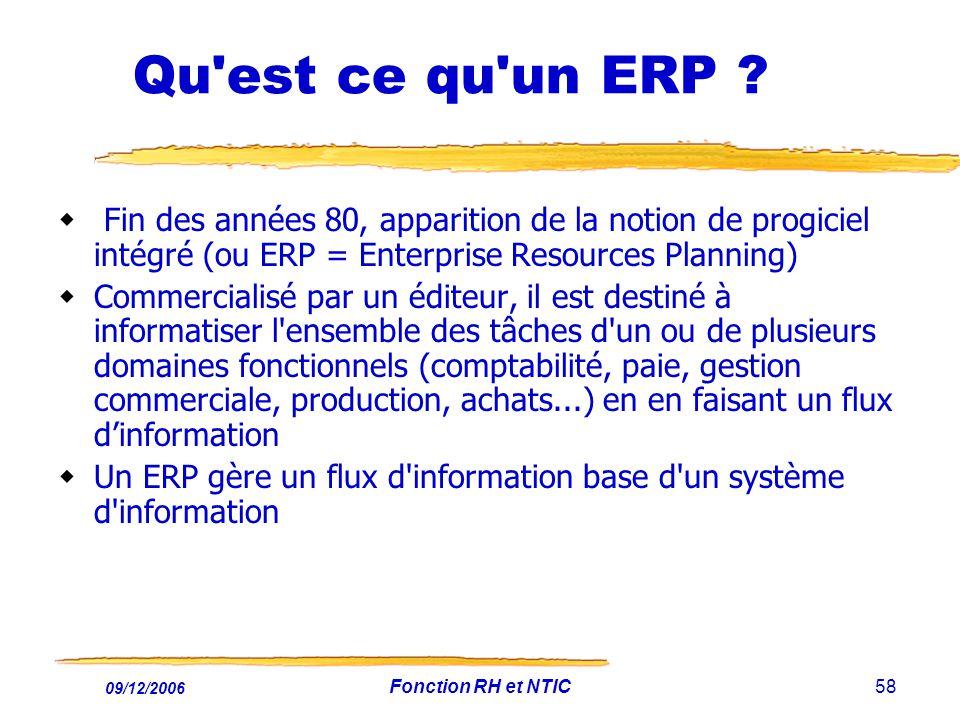 09/12/2006 Fonction RH et NTIC58 Qu'est ce qu'un ERP ? Fin des années 80, apparition de la notion de progiciel intégré (ou ERP = Enterprise Resources