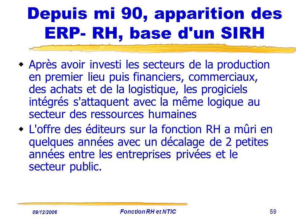 09/12/2006 Fonction RH et NTIC59 Depuis mi 90, apparition des ERP- RH, base d'un SIRH Après avoir investi les secteurs de la production en premier lie