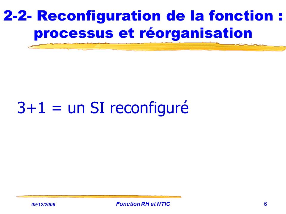 09/12/2006 Fonction RH et NTIC6 2-2- Reconfiguration de la fonction : processus et réorganisation 3+1 = un SI reconfiguré