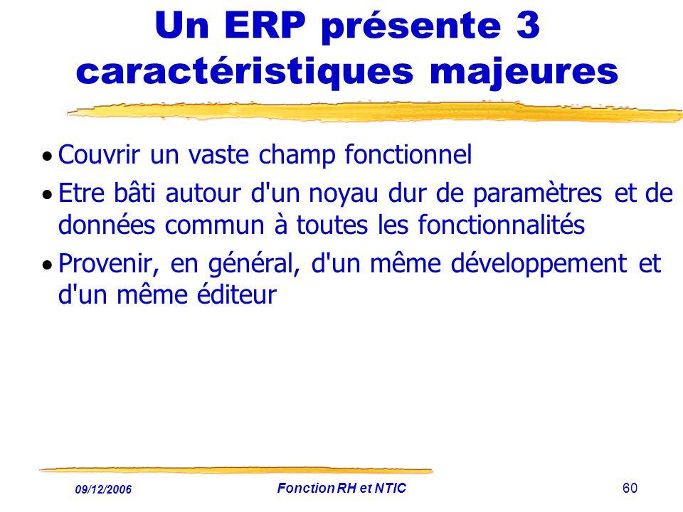 09/12/2006 Fonction RH et NTIC60 Un ERP présente 3 caractéristiques majeures Couvrir un vaste champ fonctionnel Etre bâti autour d'un noyau dur de par