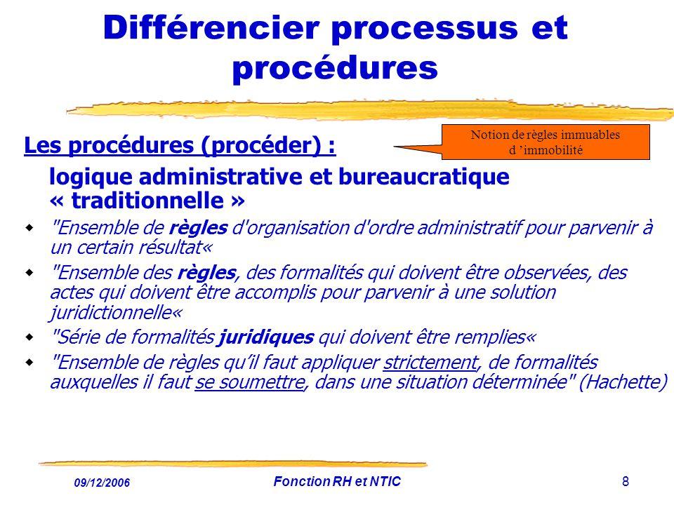 09/12/2006 Fonction RH et NTIC8 Différencier processus et procédures Les procédures (procéder) : logique administrative et bureaucratique « traditionn