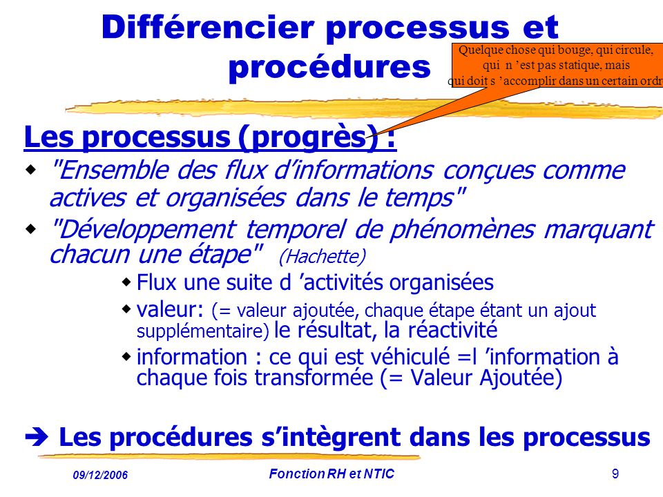 09/12/2006 Fonction RH et NTIC9 Différencier processus et procédures Les processus (progrès) :