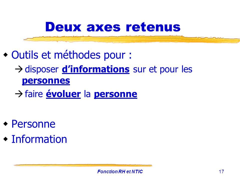 Fonction RH et NTIC17 Deux axes retenus Outils et méthodes pour : disposer dinformations sur et pour les personnes faire évoluer la personne Personne