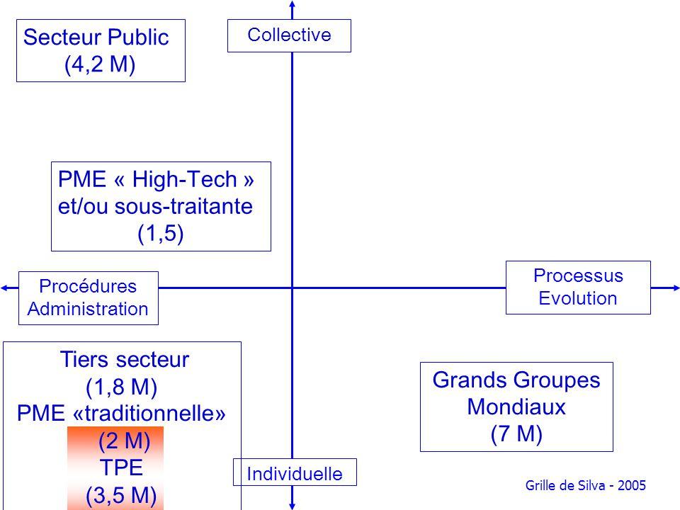 Collective Processus Evolution Individuelle Procédures Administration Grille de Silva - 2005 Grands Groupes Mondiaux (7 M) PME « High-Tech » et/ou sou