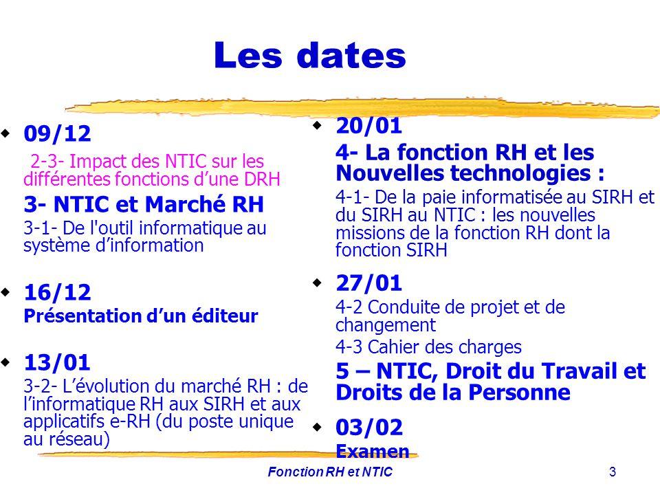 Fonction RH et NTIC3 Les dates 09/12 2-3- Impact des NTIC sur les différentes fonctions dune DRH 3- NTIC et Marché RH 3-1- De l'outil informatique au