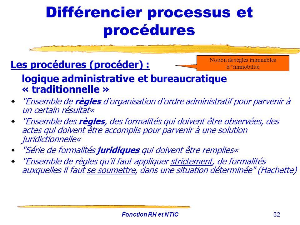 Fonction RH et NTIC32 Différencier processus et procédures Les procédures (procéder) : logique administrative et bureaucratique « traditionnelle »