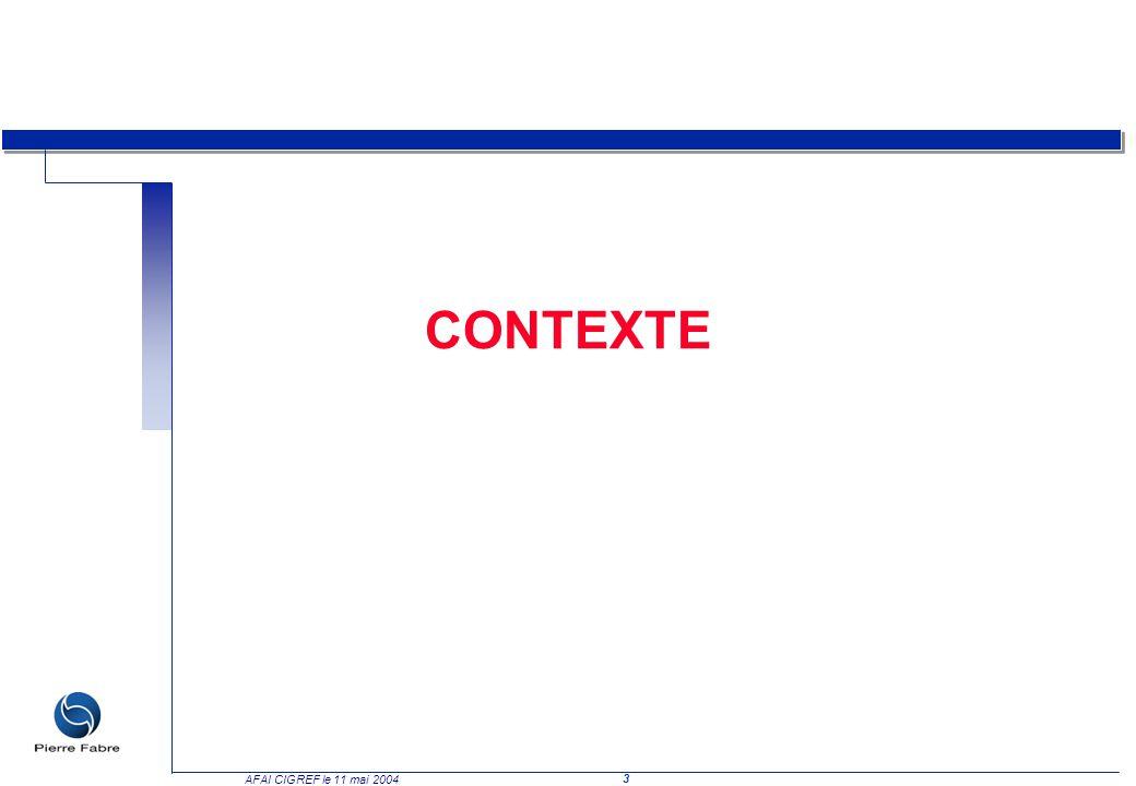 4 AFAI CIGREF le 11 mai 2004 Contexte (1/3) De nombreux facteurs de changement impactent aujourd hui fortement la fonction informatique : q Le SI supporte les intérêts stratégiques de l entreprise äLes systèmes dinformations étaient, il y a quelques années, de simples « commodités » techniques cantonnées dans les fonctions « support » de lentreprise (comptabilité, RH, etc.).