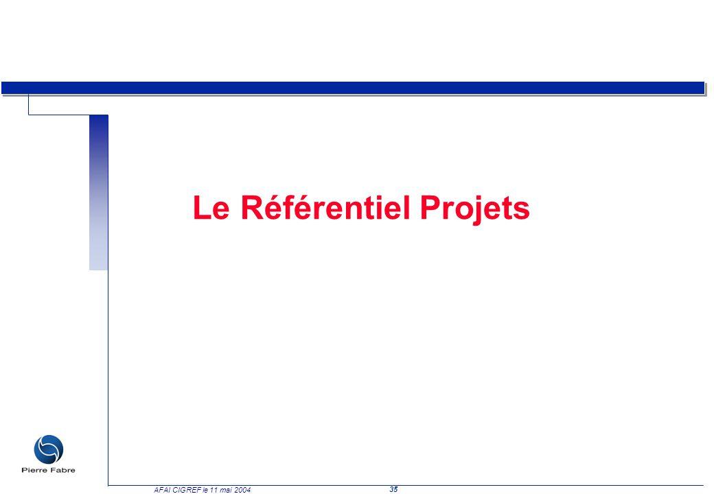 35 AFAI CIGREF le 11 mai 2004 Le Référentiel Projets