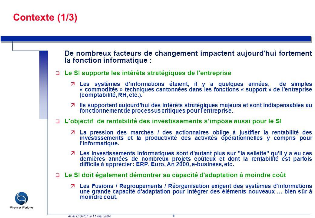 5 AFAI CIGREF le 11 mai 2004 Contexte (2/3) q Ces changements profonds nécessitent de mettre en place de nouveaux critères de mesure de la performance informatique, visant de plus en plus à apprécier la « contribution de linformatique au Business » : ädifférenciation concurrentielle, äcréation de valeur pour l entreprise, äréduction des coûts, äflexibilité, ä……… q L IT Governance regroupe lensemble des bonnes pratiques qui vont aider linformatique à être reconnue comme « centre de création de valeur » au service de la stratégie de lEntreprise, et non plus comme un simple « centre de coûts ».