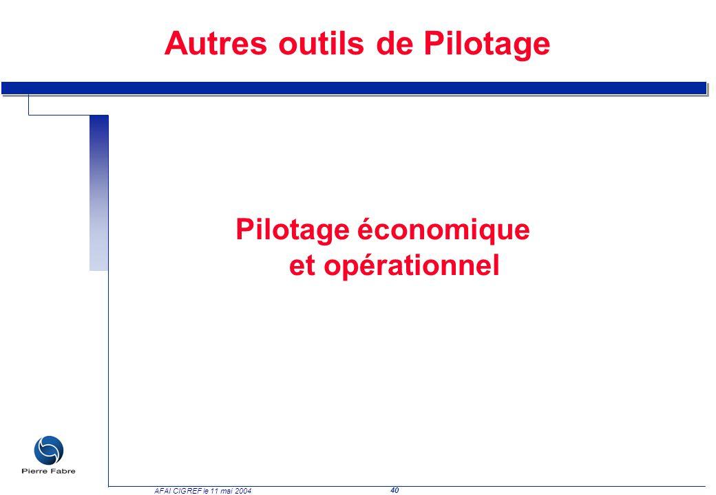 40 AFAI CIGREF le 11 mai 2004 Pilotage économique et opérationnel Autres outils de Pilotage