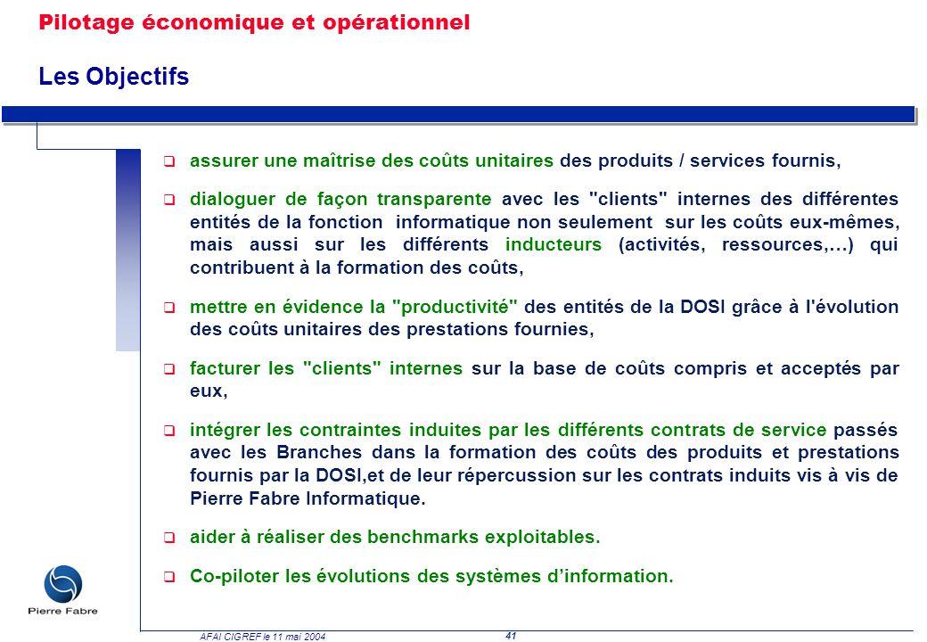 41 AFAI CIGREF le 11 mai 2004 q assurer une maîtrise des coûts unitaires des produits / services fournis, q dialoguer de façon transparente avec les