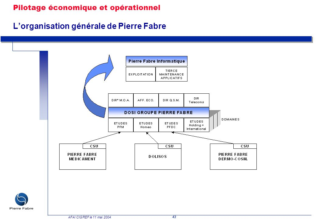 43 AFAI CIGREF le 11 mai 2004 Pilotage économique et opérationnel Lorganisation générale de Pierre Fabre