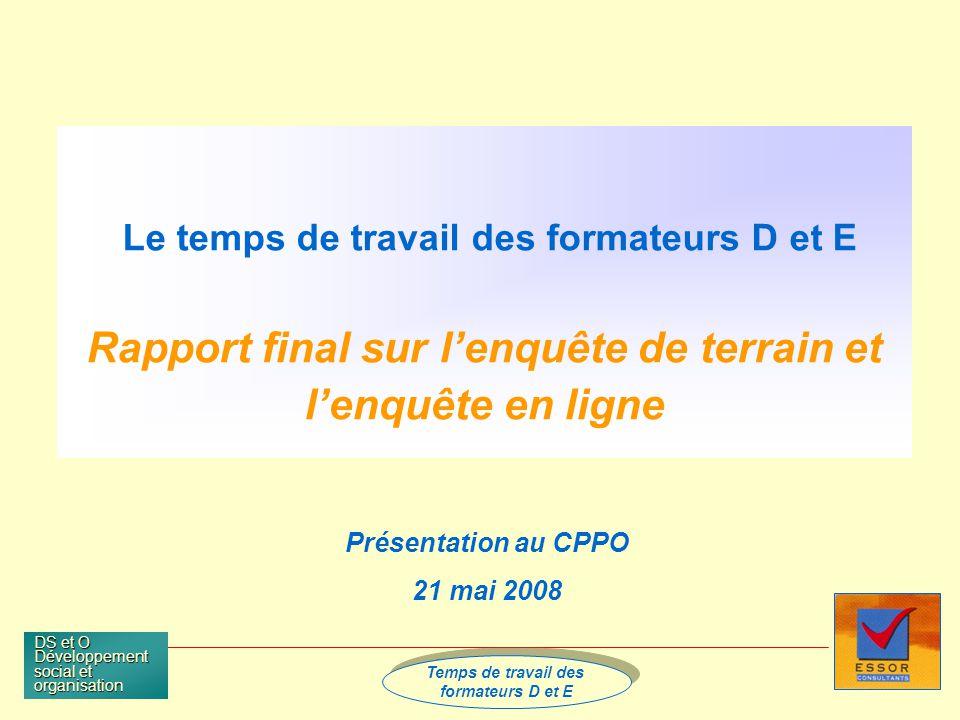Temps de travail des Formateurs D et E Temps de travail des Formateurs D et E DS et O Développement social et organisation page 32 A quoi est consacré le temps d AF .