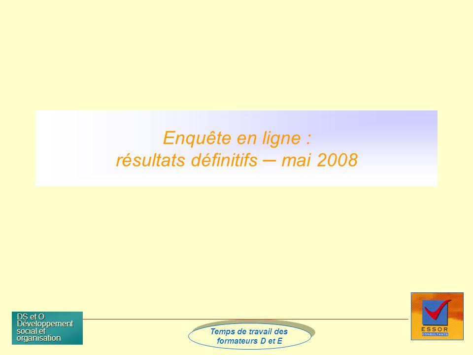 Temps de travail des formateurs D et E Temps de travail des formateurs D et E DS et O Développement social et organisation Enquête en ligne : résultats définitifs mai 2008