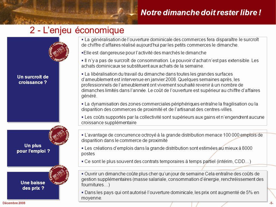 Décembre 2008-5- Notre dimanche doit rester libre ! 2 - Lenjeu économique La généralisation de louverture dominicale des commerces fera disparaître le