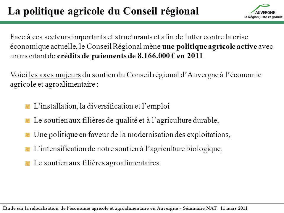 Étude sur la relocalisation de léconomie agricole et agroalimentaire en Auvergne – Séminaire NAT 11 mars 2011 Face à ces secteurs importants et struct