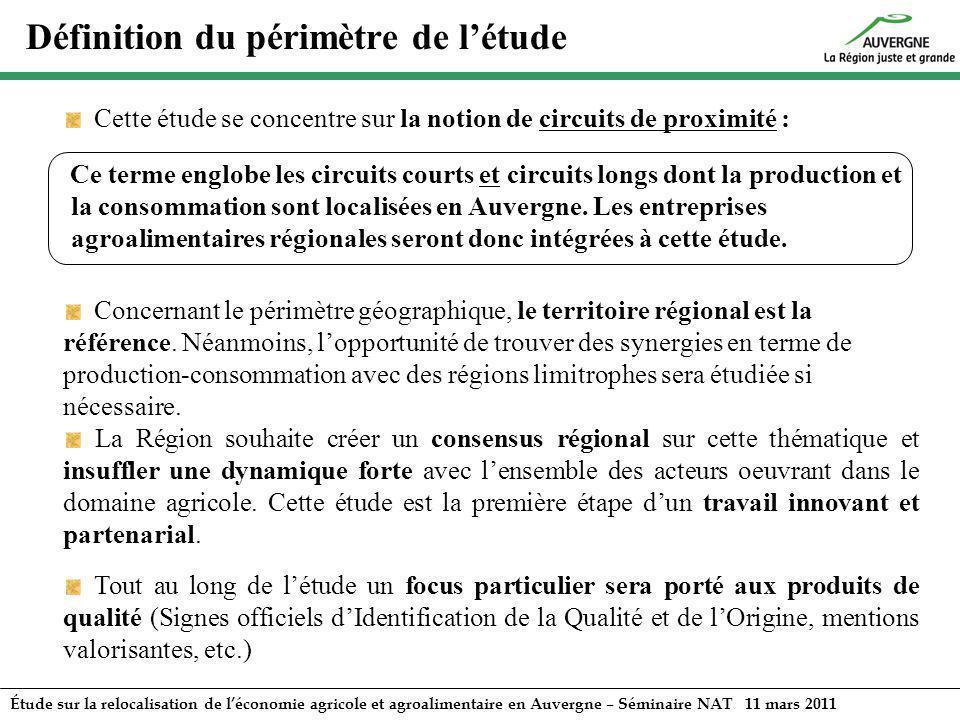 Étude sur la relocalisation de léconomie agricole et agroalimentaire en Auvergne – Séminaire NAT 11 mars 2011 Concernant le périmètre géographique, le