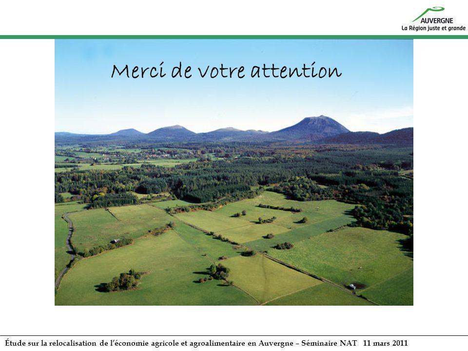 Étude sur la relocalisation de léconomie agricole et agroalimentaire en Auvergne – Séminaire NAT 11 mars 2011 Merci de votre attention