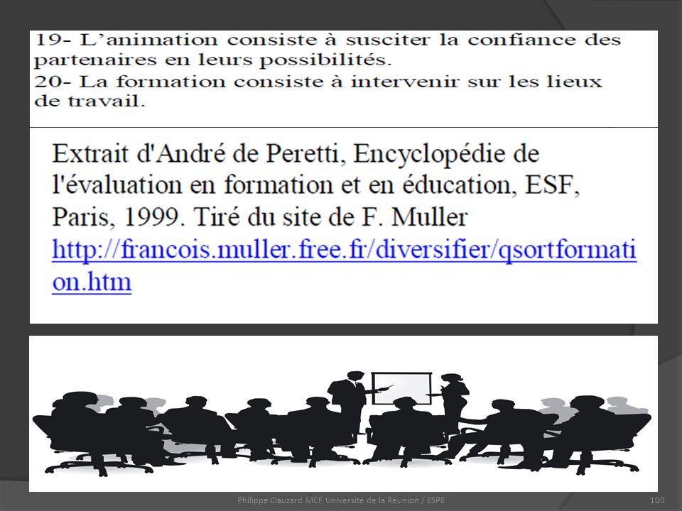 Philippe Clauzard MCF Université de la Réunion / ESPE100