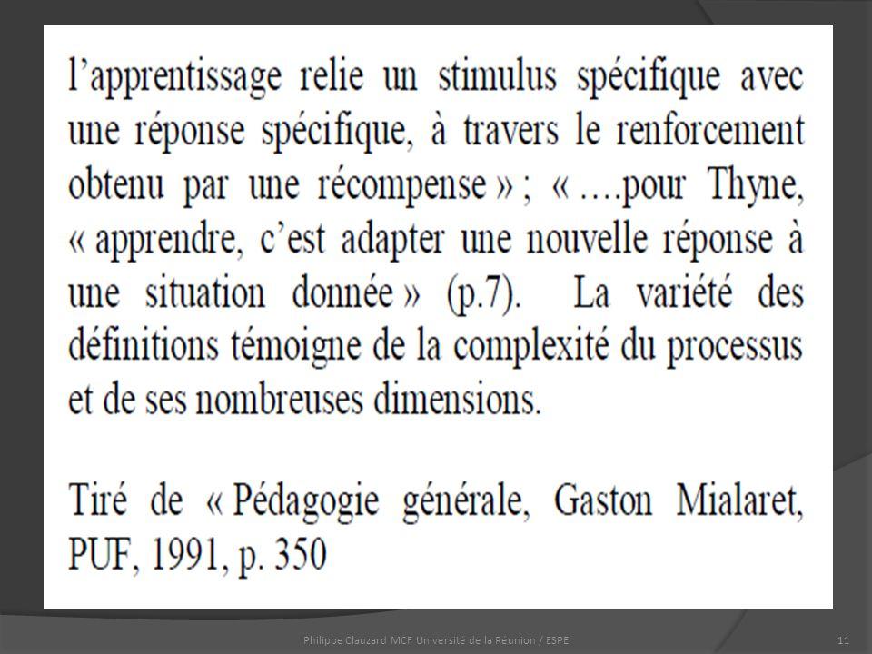 Philippe Clauzard MCF Université de la Réunion / ESPE11