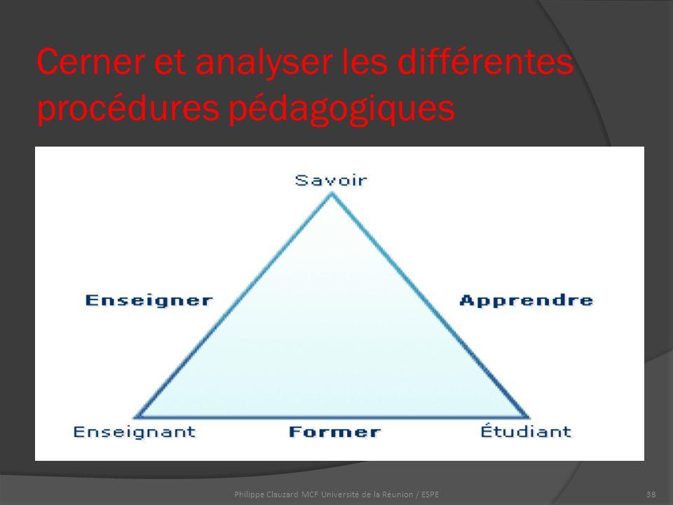 Cerner et analyser les différentes procédures pédagogiques Philippe Clauzard MCF Université de la Réunion / ESPE38