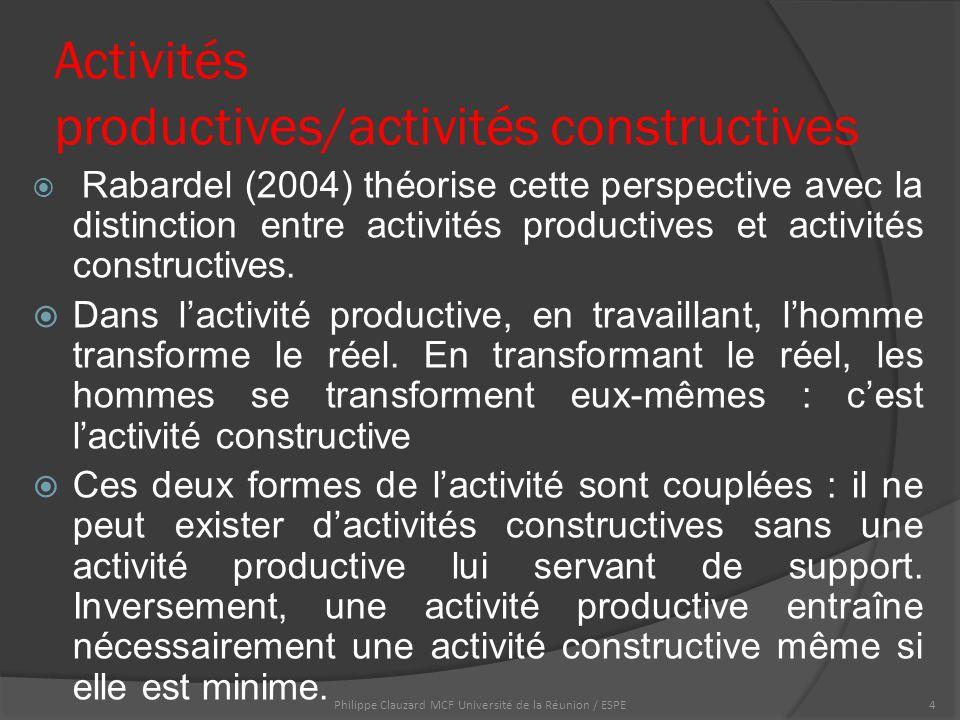 Activités productives/activités constructives  Rabardel (2004) théorise cette perspective avec la distinction entre activités productives et activités constructives.