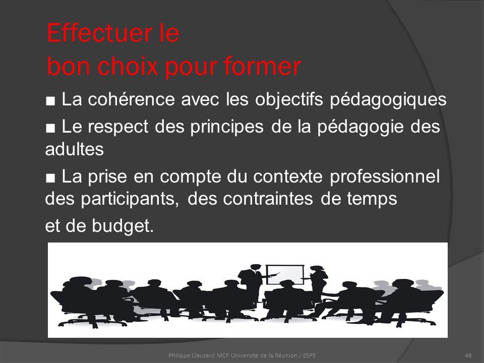 Effectuer le bon choix pour former ■ La cohérence avec les objectifs pédagogiques ■ Le respect des principes de la pédagogie des adultes ■ La prise en compte du contexte professionnel des participants, des contraintes de temps et de budget.