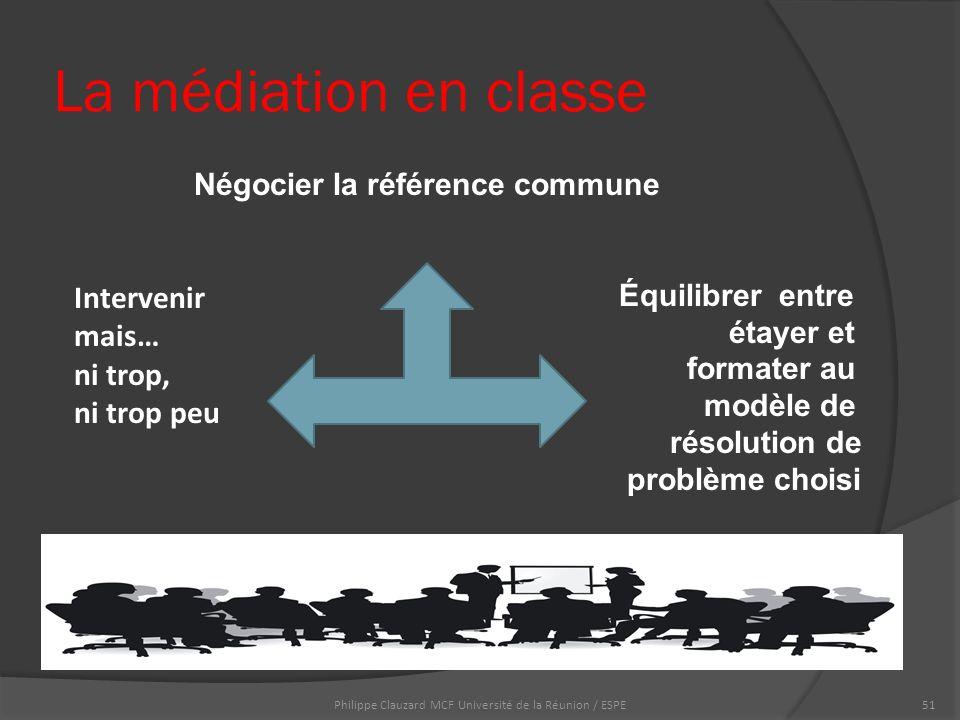 La médiation en classe Négocier la référence commune Équilibrer entre étayer et formater au modèle de résolution de problème choisi Philippe Clauzard MCF Université de la Réunion / ESPE51 Intervenir mais… ni trop, ni trop peu