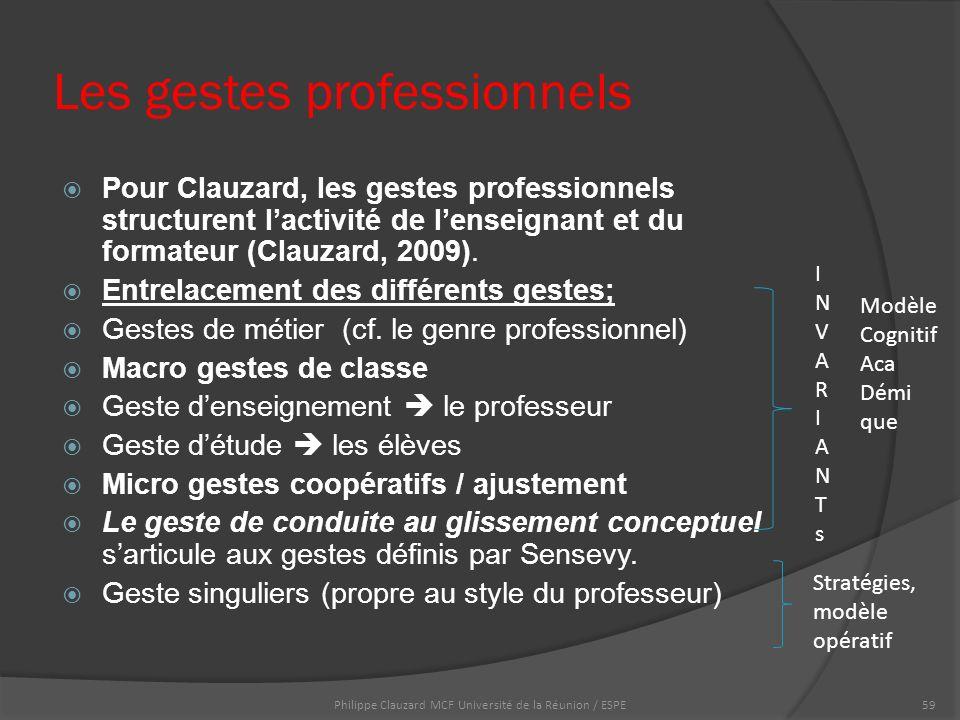 Les gestes professionnels  Pour Clauzard, les gestes professionnels structurent l'activité de l'enseignant et du formateur (Clauzard, 2009).