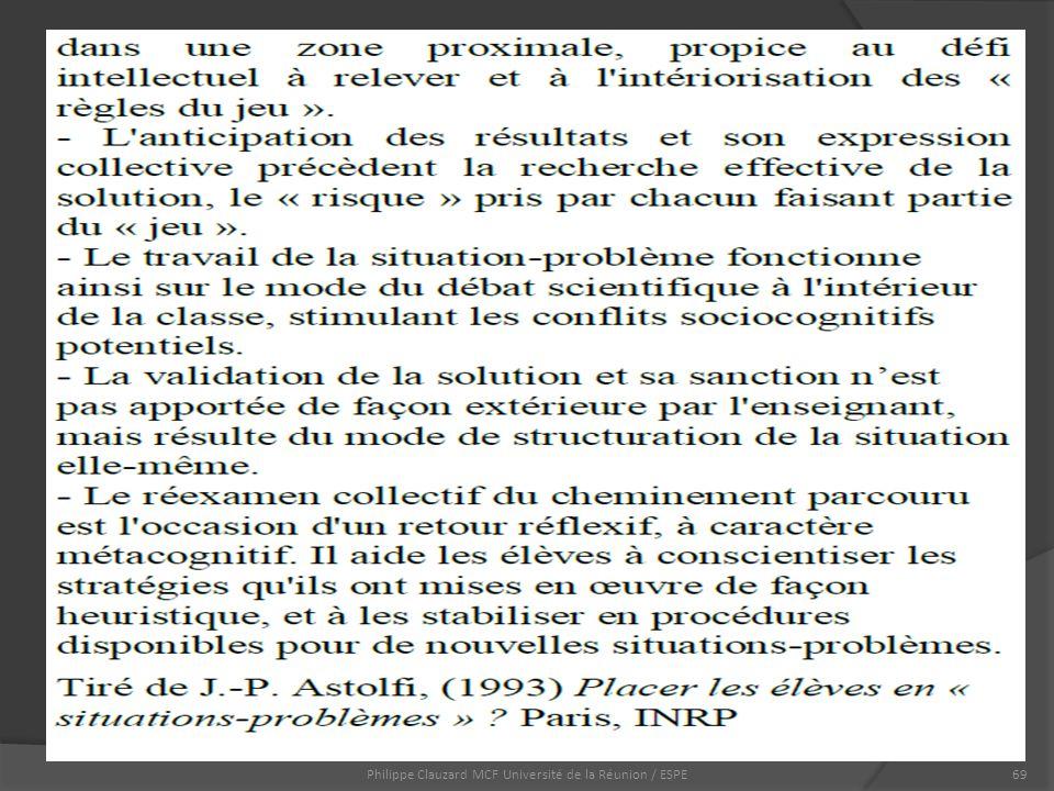 Philippe Clauzard MCF Université de la Réunion / ESPE69