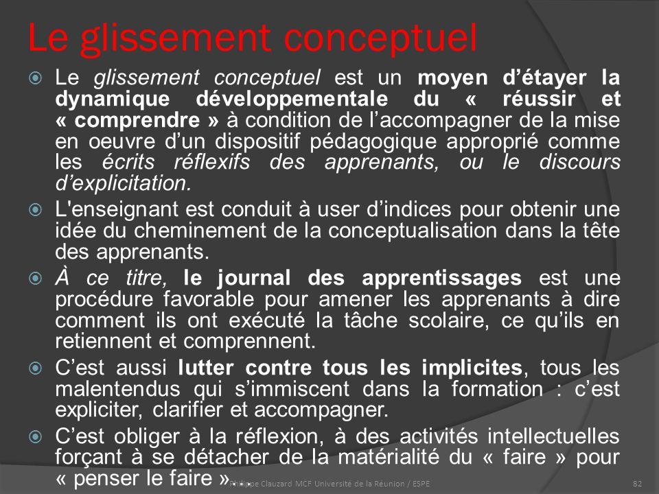 Le glissement conceptuel  Le glissement conceptuel est un moyen d'étayer la dynamique développementale du « réussir et « comprendre » à condition de l'accompagner de la mise en oeuvre d'un dispositif pédagogique approprié comme les écrits réflexifs des apprenants, ou le discours d'explicitation.