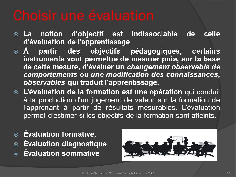 Choisir une évaluation  La notion d objectif est indissociable de celle d évaluation de l apprentissage.