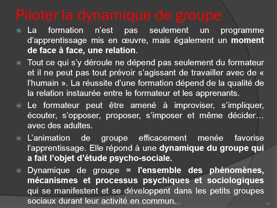 Piloter la dynamique de groupe  La formation n'est pas seulement un programme d'apprentissage mis en œuvre, mais également un moment de face à face, une relation.