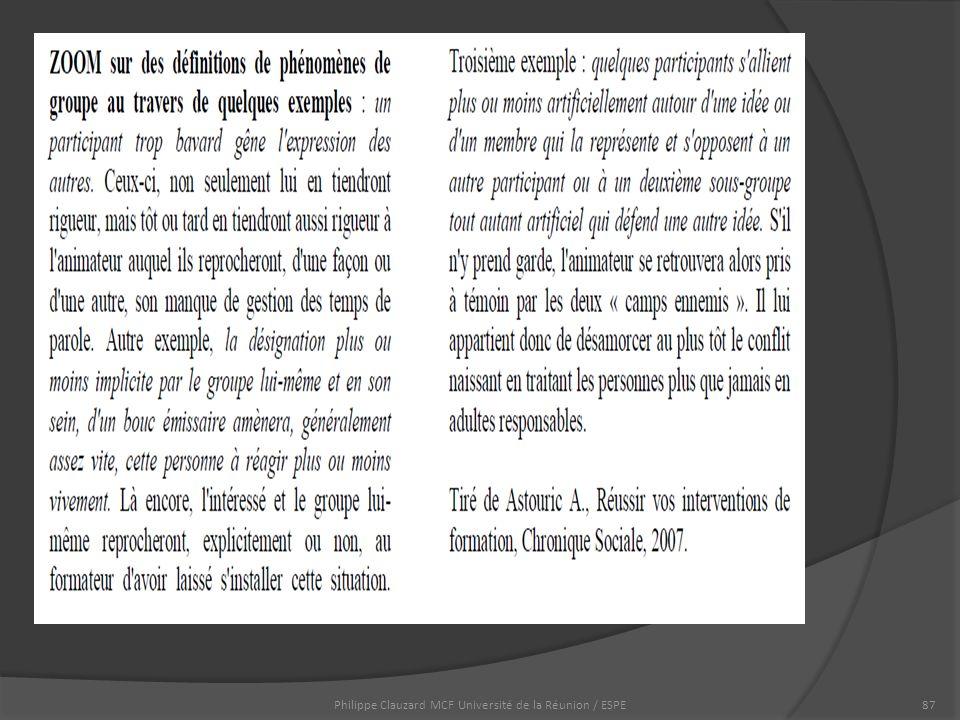 Philippe Clauzard MCF Université de la Réunion / ESPE87
