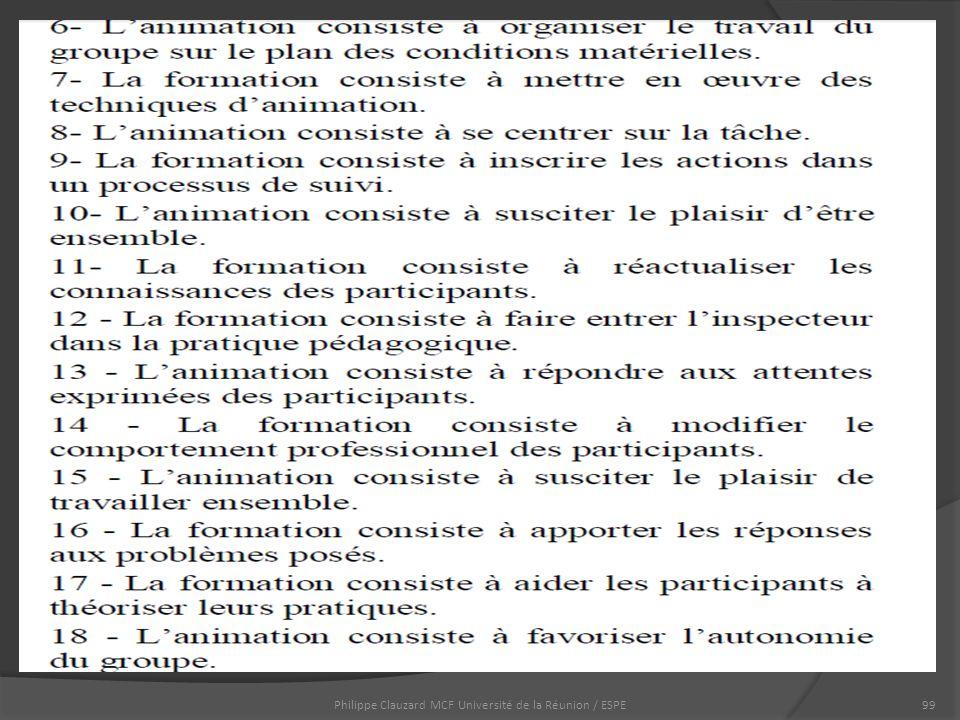 Philippe Clauzard MCF Université de la Réunion / ESPE99