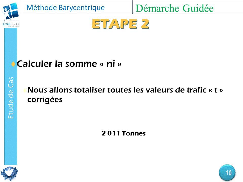 ETAPE 2  Calculer la somme « ni »  Nous allons totaliser toutes les valeurs de trafic « t » corrigées 2 011 Tonnes Démarche Guidée 10
