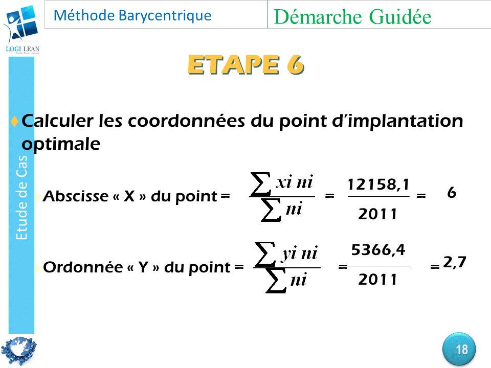 ETAPE 6  Calculer les coordonnées du point d'implantation optimale  Abscisse « X » du point = = =  Ordonnée « Y » du point = = = 12158,1 2011 6 5366,4 2011 2,7 Démarche Guidée 18