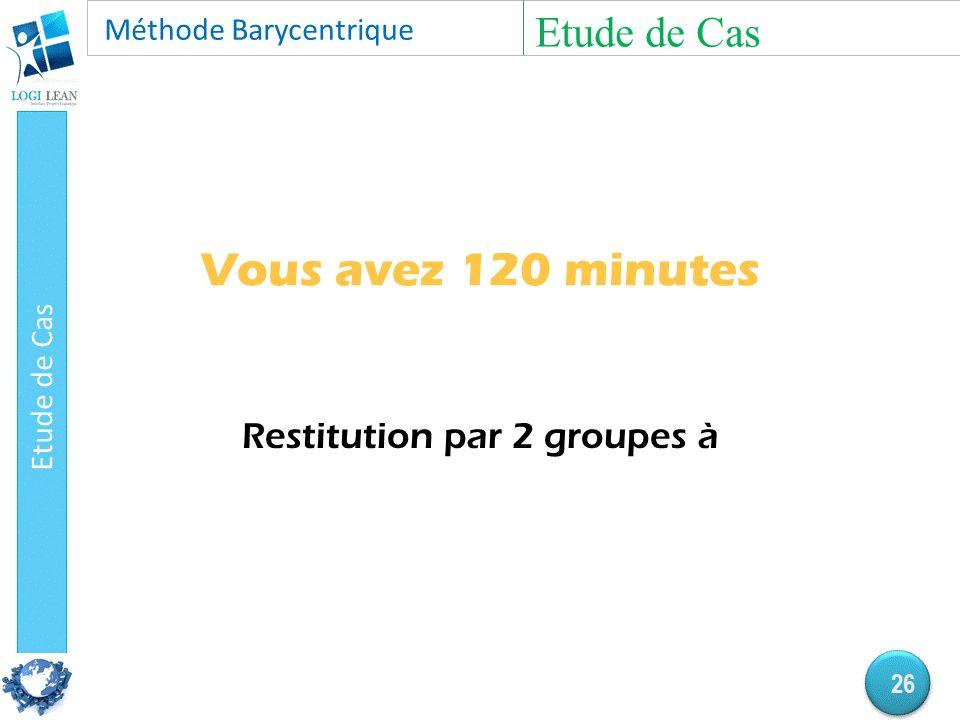 Vous avez 120 minutes Restitution par 2 groupes à Etude de Cas 26