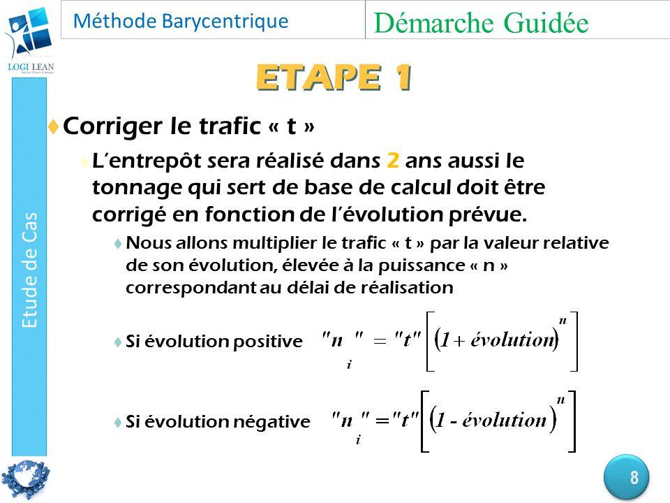ETAPE 1  Corriger le trafic « t »  L'entrepôt sera réalisé dans 2 ans aussi le tonnage qui sert de base de calcul doit être corrigé en fonction de l'évolution prévue.