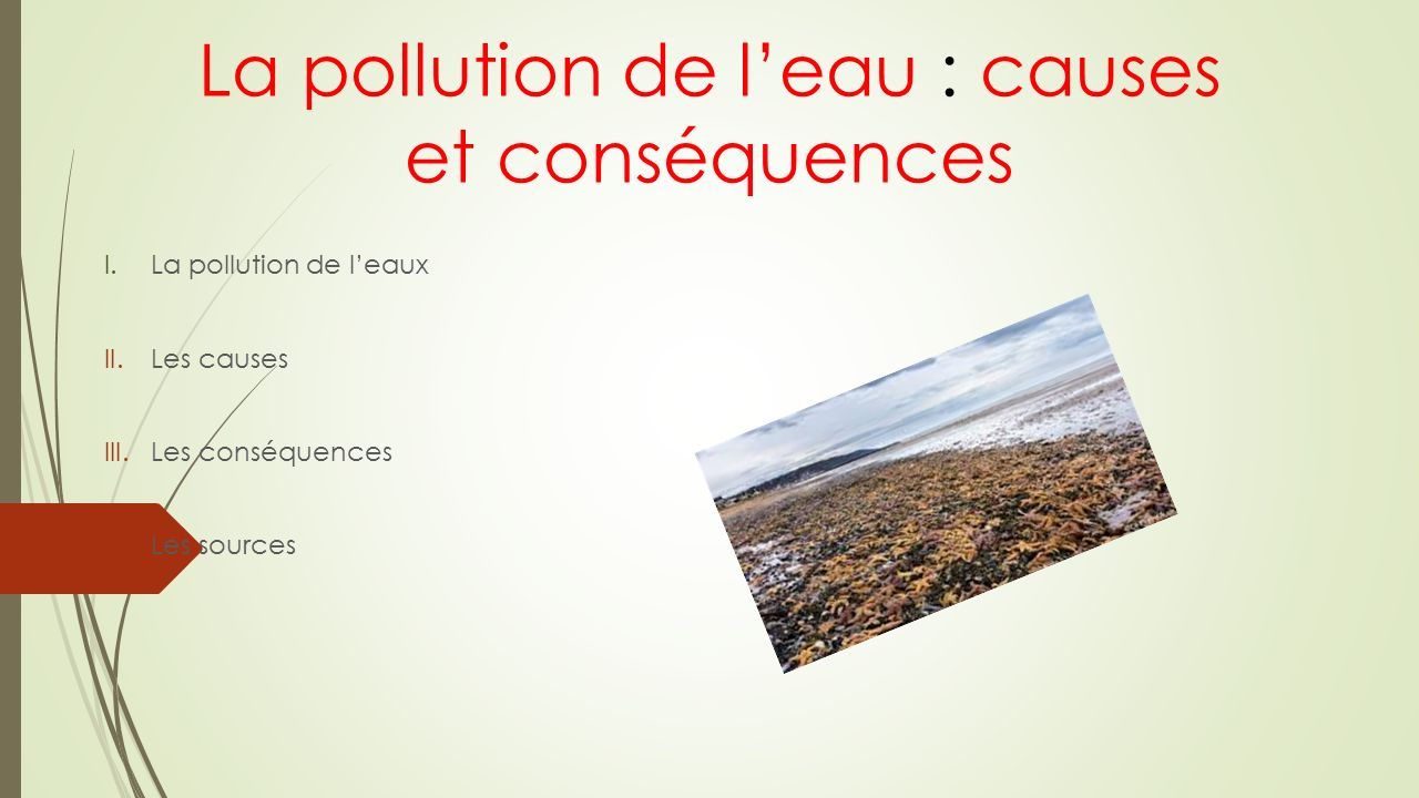 La pollution de l'eau : causes et conséquences I.La pollution de l'eaux II.Les causes III.Les conséquences IV.Les sources