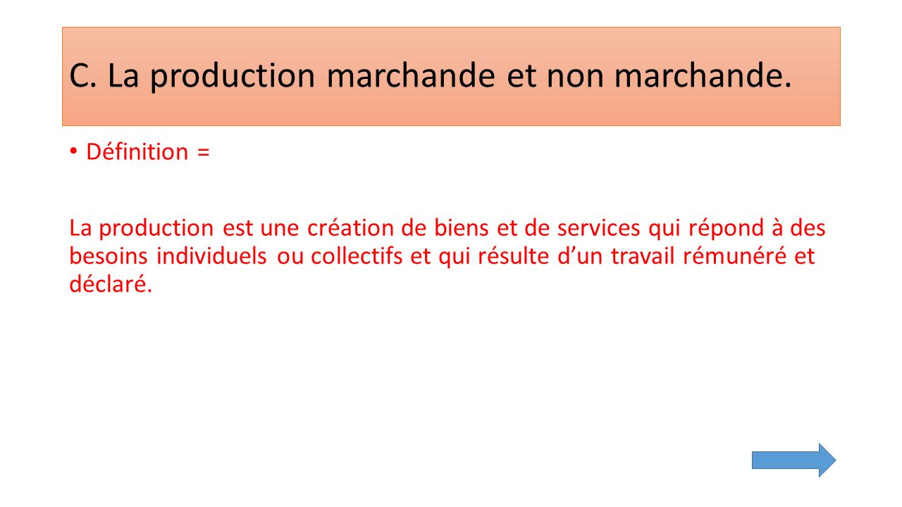 C. La production marchande et non marchande.
