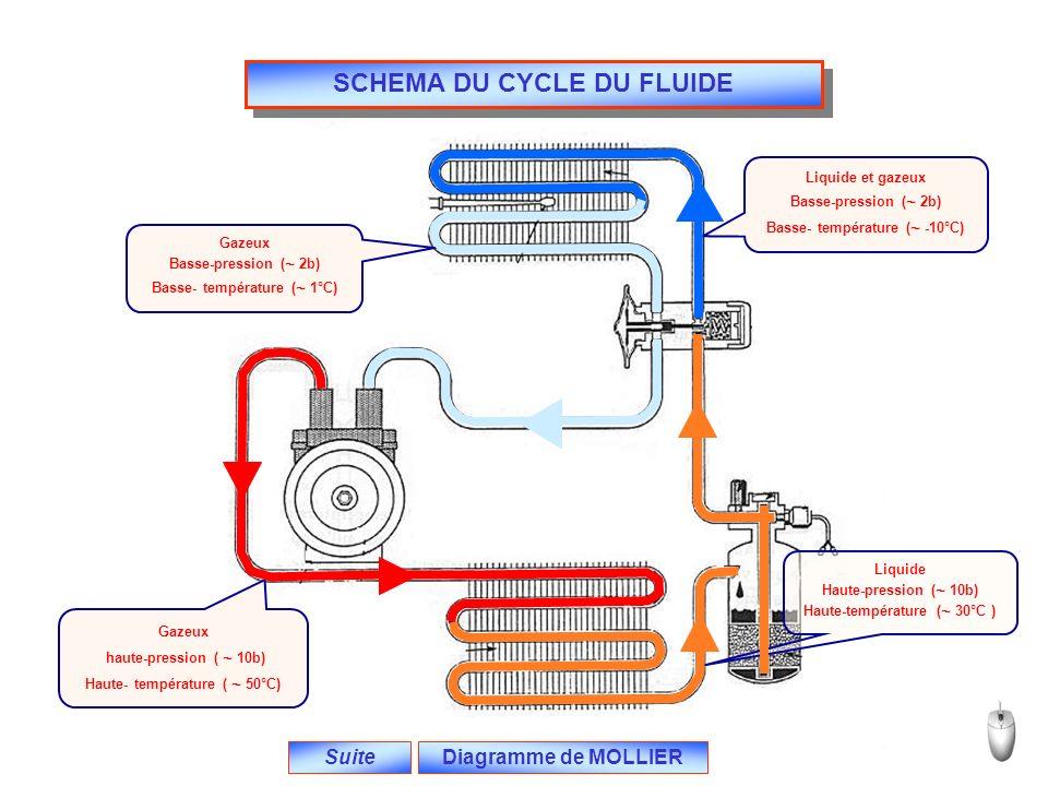 SCHEMA DU CYCLE DU FLUIDE Suite Gazeux haute-pression (  10b) Haute- température (  50°C) Liquide Haute-pression (  10b) Haute-température (  30°C ) Liquide et gazeux Basse-pression (  2b) Basse- température (  -10°C) Gazeux Basse-pression (  2b) Basse- température (  1°C) Diagramme de MOLLIER