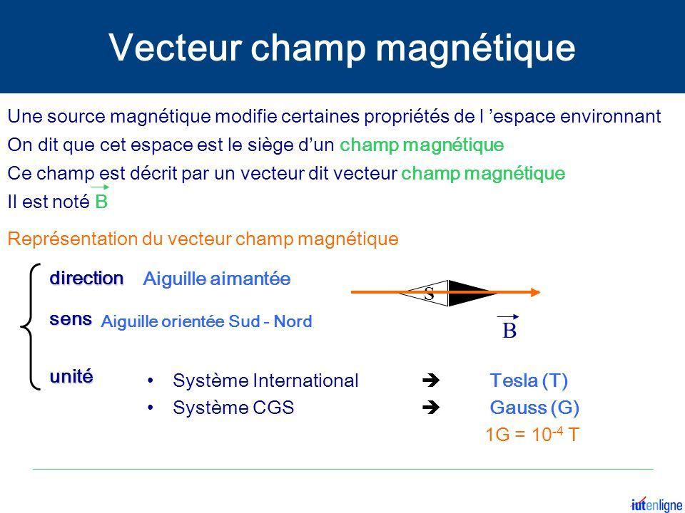 Représentation du vecteur champ magnétique Une source magnétique modifie certaines propriétés de l 'espace environnant On dit que cet espace est le siège d'un champ magnétique Ce champ est décrit par un vecteur dit vecteur champ magnétique Il est noté B S Système International  Tesla (T) Système CGS  Gauss (G) 1G = 10 -4 T direction direction sens sens unité unité Aiguille aimantée Aiguille orientée Sud - Nord B Vecteur champ magnétique