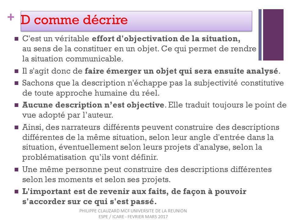 + D comme décrire C est un véritable effort d objectivation de la situation, au sens de la constituer en un objet.