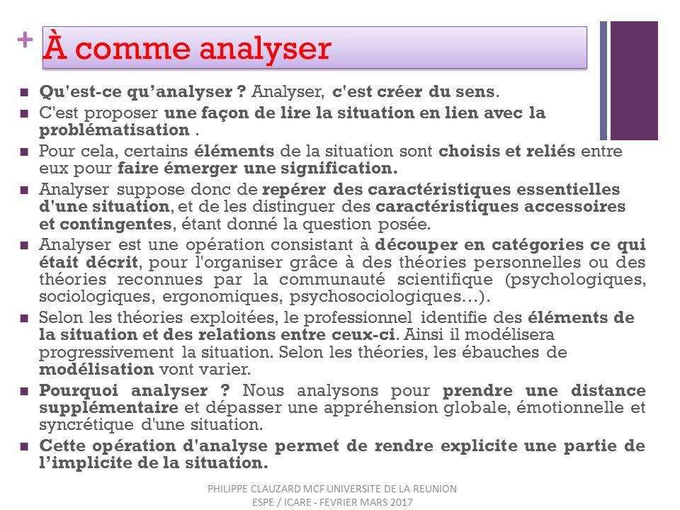 + À comme analyser Qu est-ce qu'analyser . Analyser, c est créer du sens.